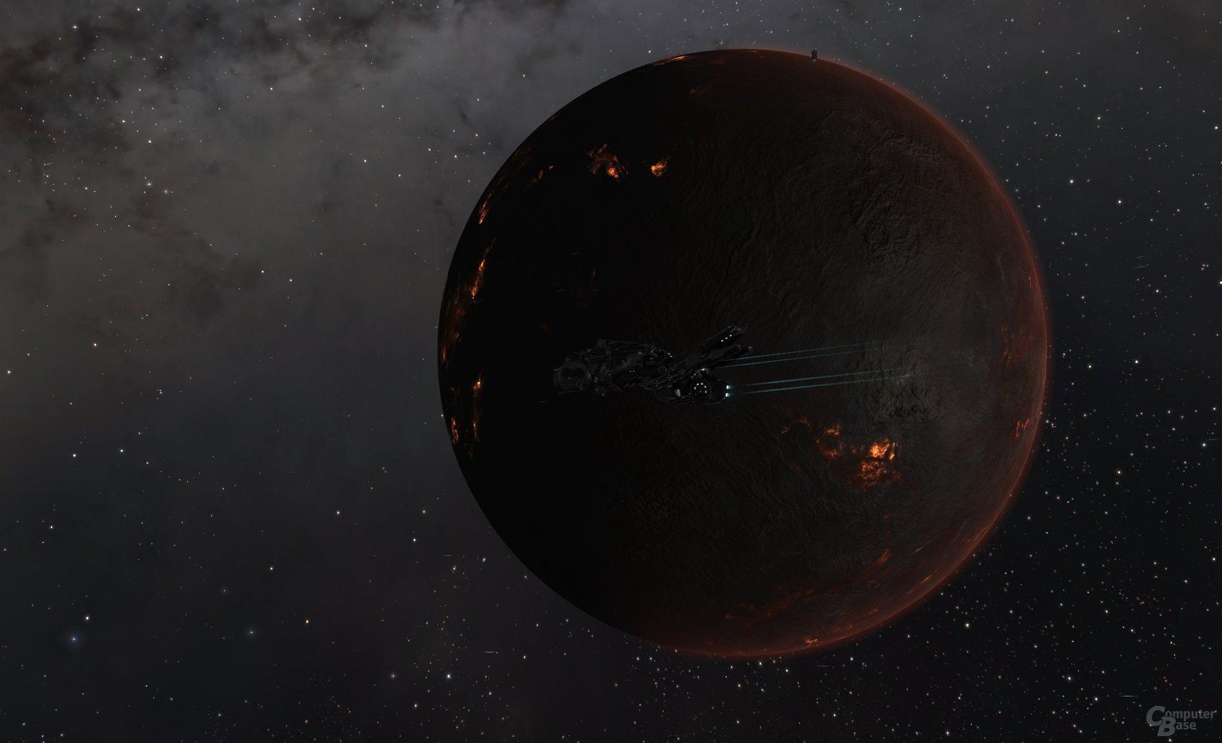 Proteus, vor einem Lava-Planeten