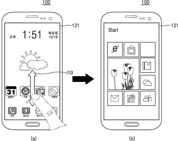 Bild aus Samsung-Patent für ein Smartphone mit Android und Windows