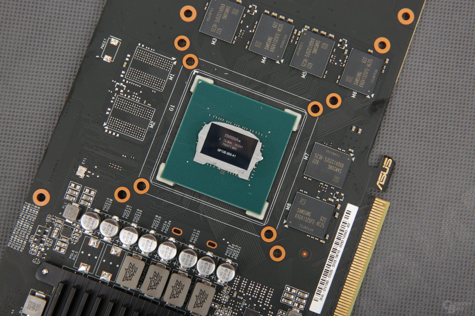 Die leicht kastrierte GPU GP106-300