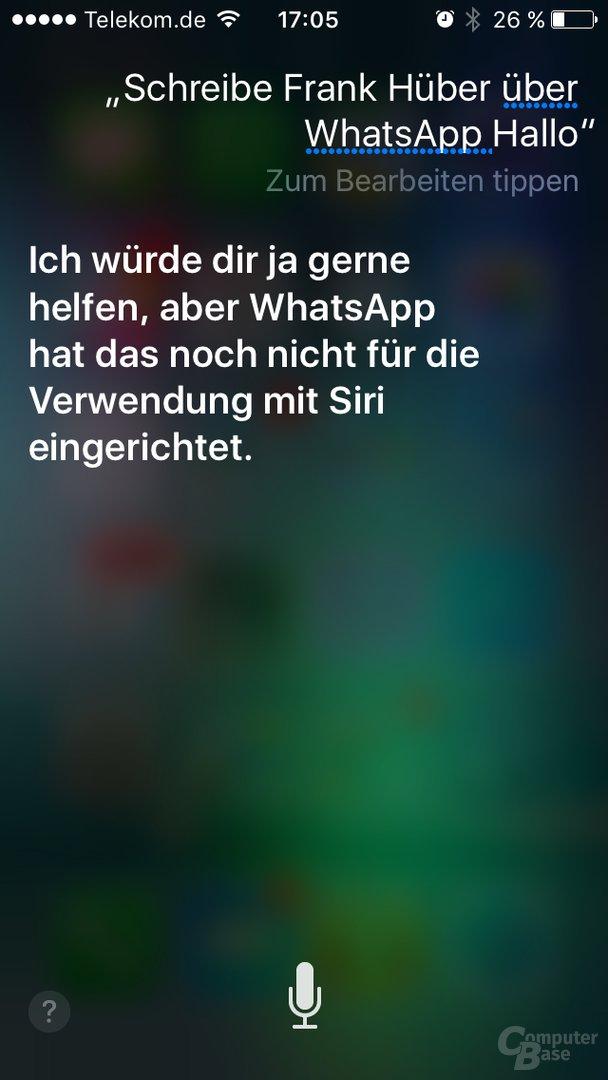 Siri kennt noch kein WhatsApp