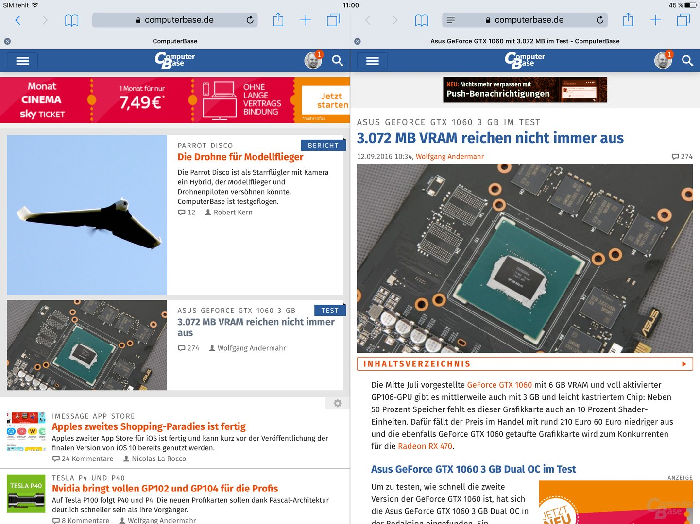 Zwei Mal Safari nebeneinander auf dem iPad Pro