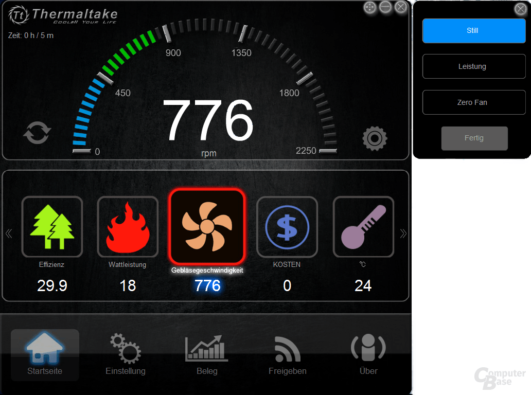 Thermaltake DPS G PC App – Zero Fan Lüftermodus