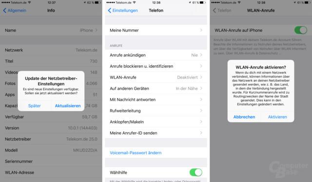 WLAN Call unter iOS 10