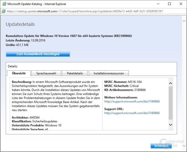 Manueller Download von Update KB3189866