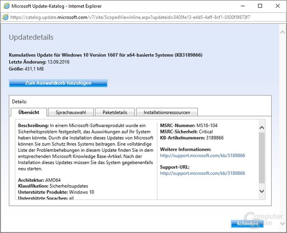 Manueller Download von Update KB3189866