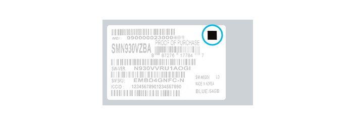 Schwarzes Quadrat zur Kennezeichnung von Galaxy Note 7 mit neuer Batterie