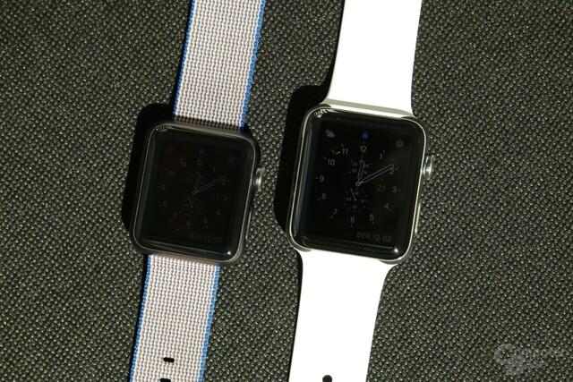 Das Display der Series 2 (rechts) leuchtet viel heller