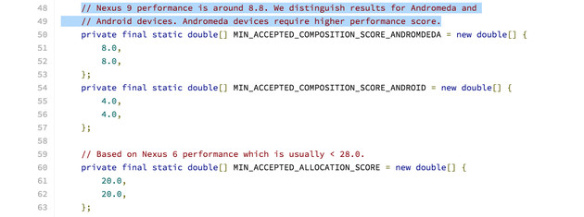 Hinweise auf Andromeda im Quellcode des Android 7.0 AOSP