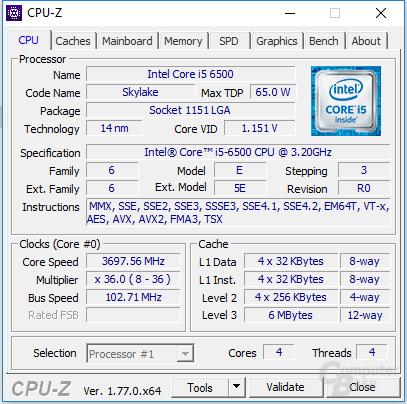 """Intel Core i5-6500 """"übertaktet"""""""