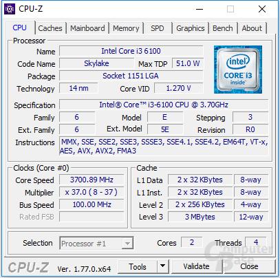Intel Core i3-6100 im maximalen Takt