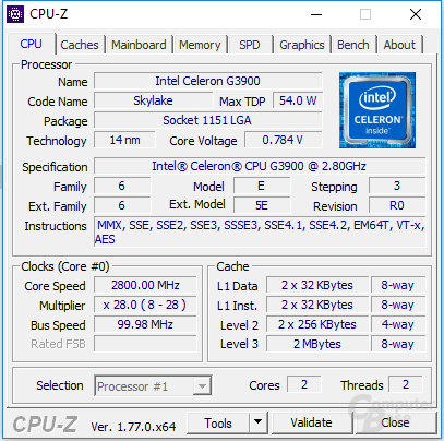Intel Celeron G3900 im maximalen Takt