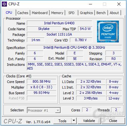 Intel Pentium G4400 im Leerlauf
