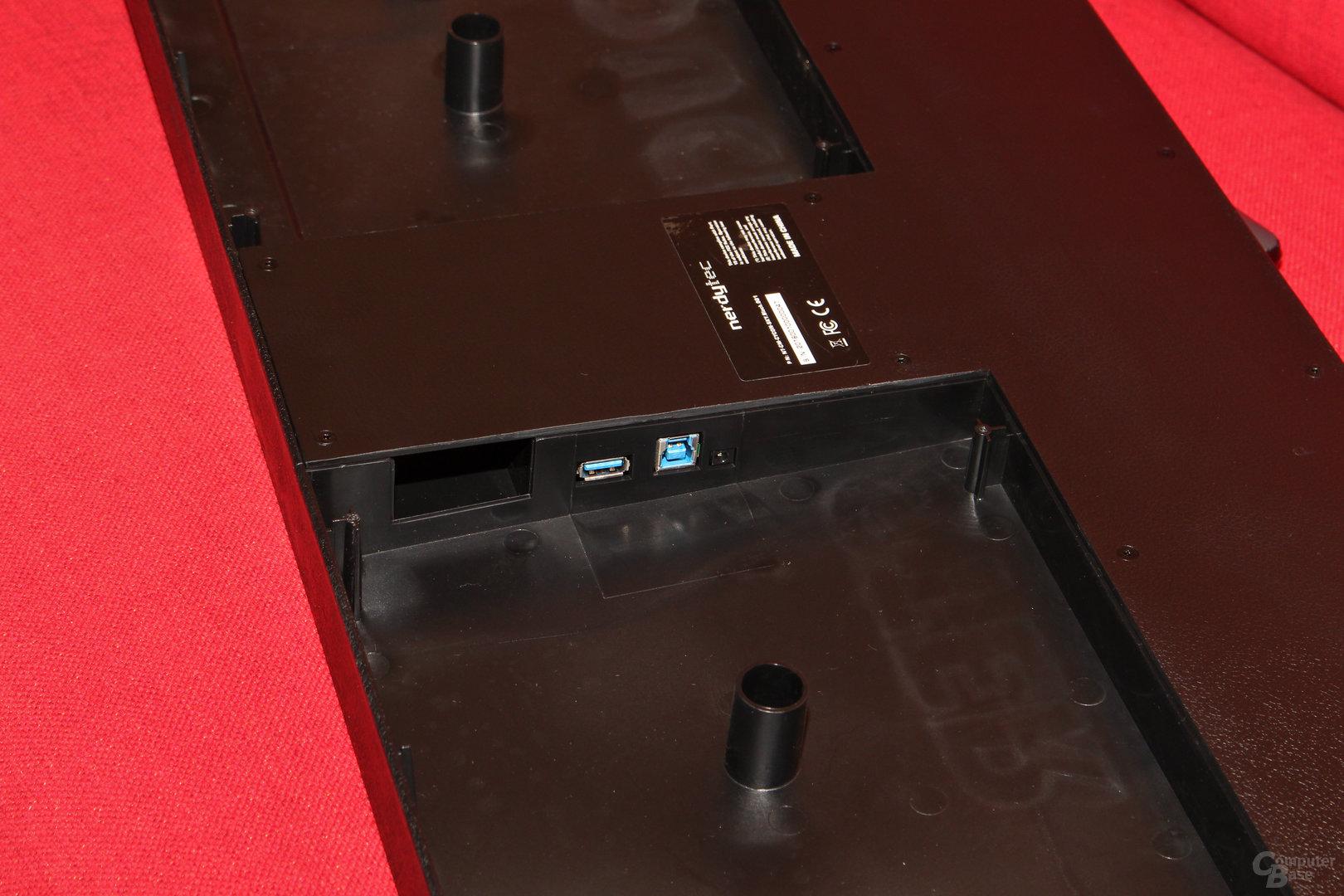 USB-Buchse, Typ-B-Port und Anschluss für Netzteil