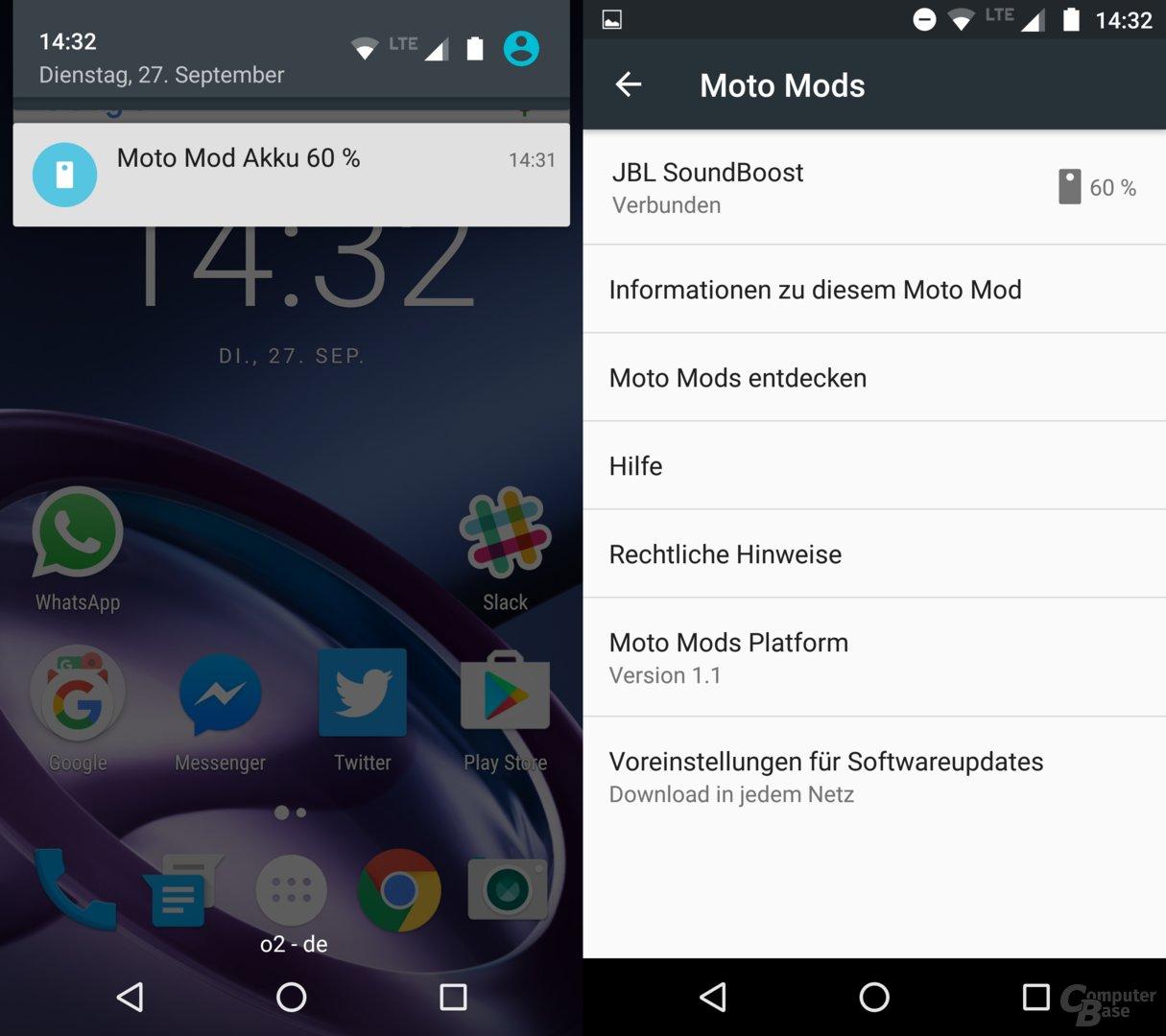 MotoMods auf dem Smartphone
