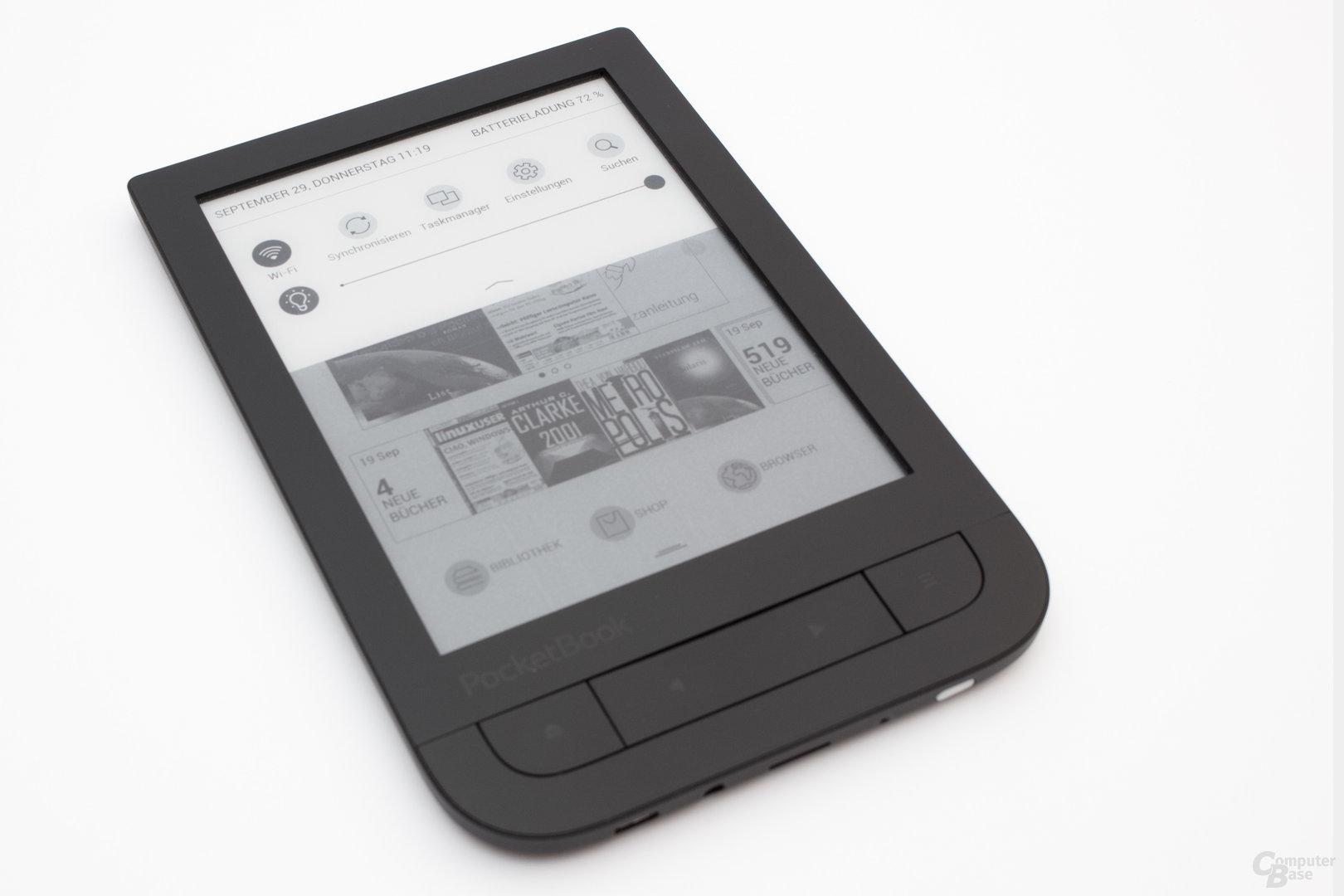 Schnelleinstellungen beim PocketBook Touch HD
