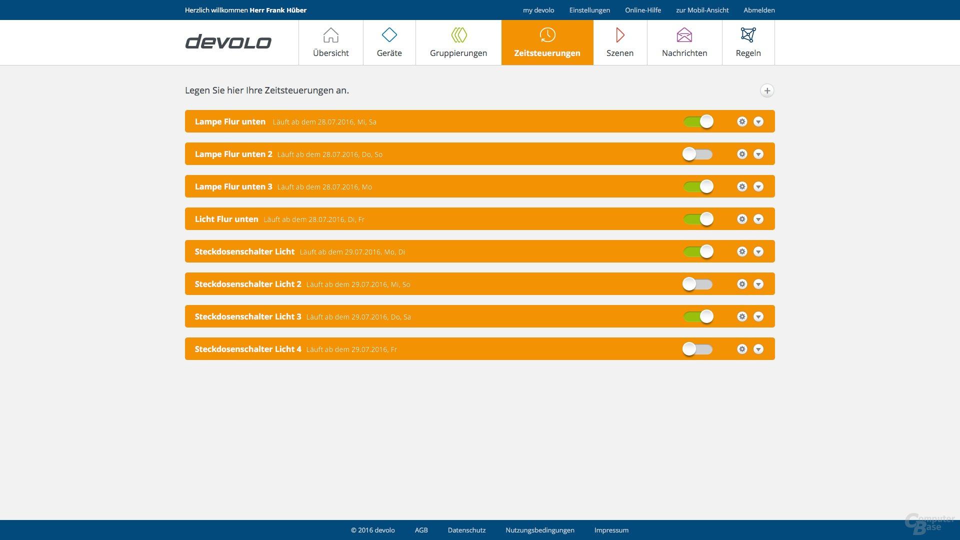 Zeitsteuerung im Devolo Home Control