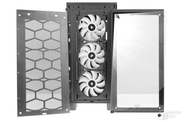 Corsair Crystal 460X RGB – Frontcover und Nylonstaubfilter entfernt
