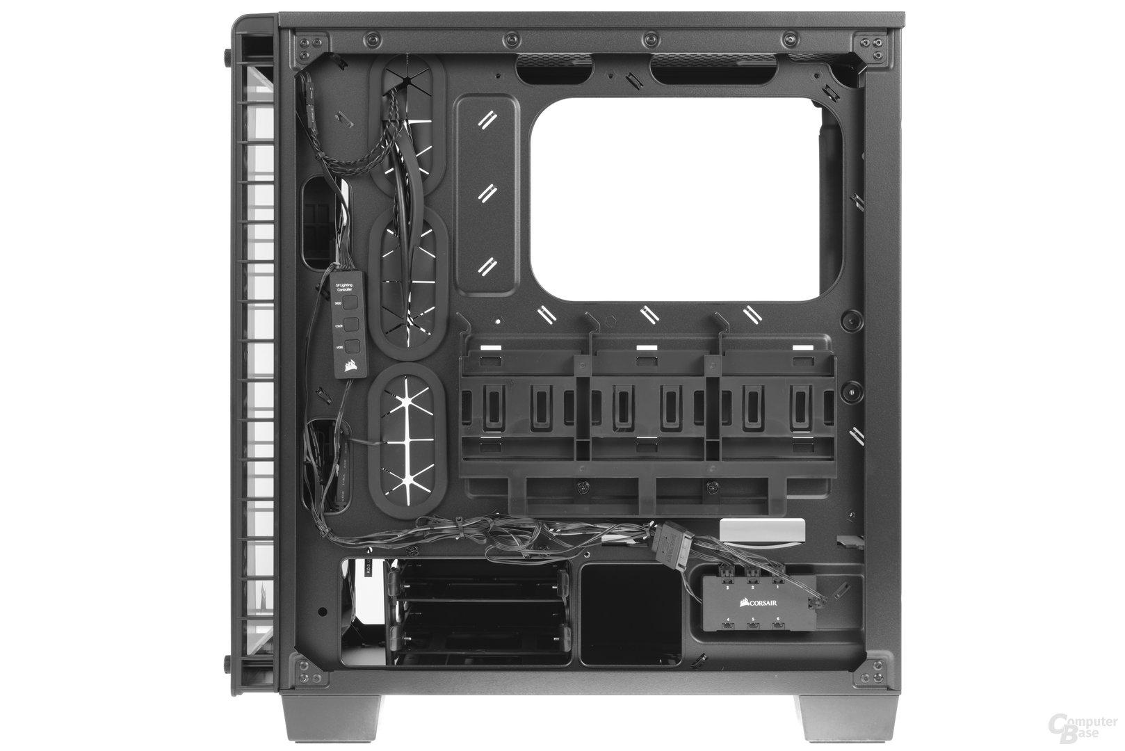 Corsair Crystal 460X RGB – Innenraumansicht Rückseite