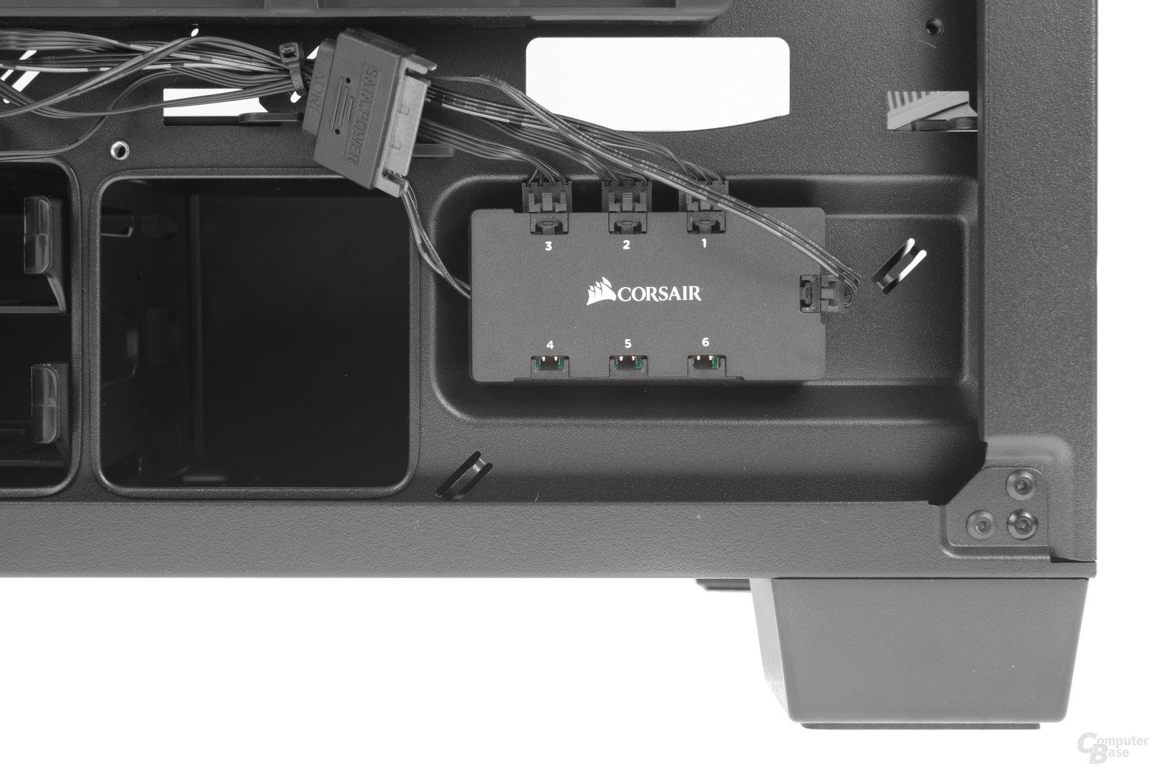 Corsair Crystal 460X RGB – Bauteil der LED-Steuerung, kann um drei weitere Lüfter erweitert werden