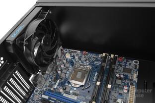 CoolerMaster MasterBox Lite 5 – Am Heck kann ein beliebig tiefer 120-mm-Single-Radiator verbaut werden