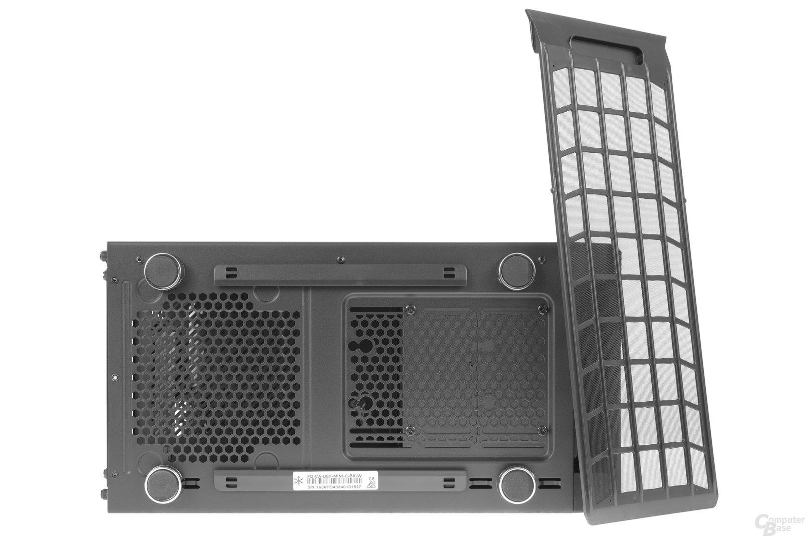 Fractal Design Define Mini C – Untersicht, verschiebbarer Festplattenkäfig