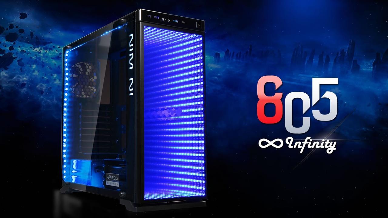 In Win 805i: RGB-LEDs leuchten auf Glas in die Unendlichkeit
