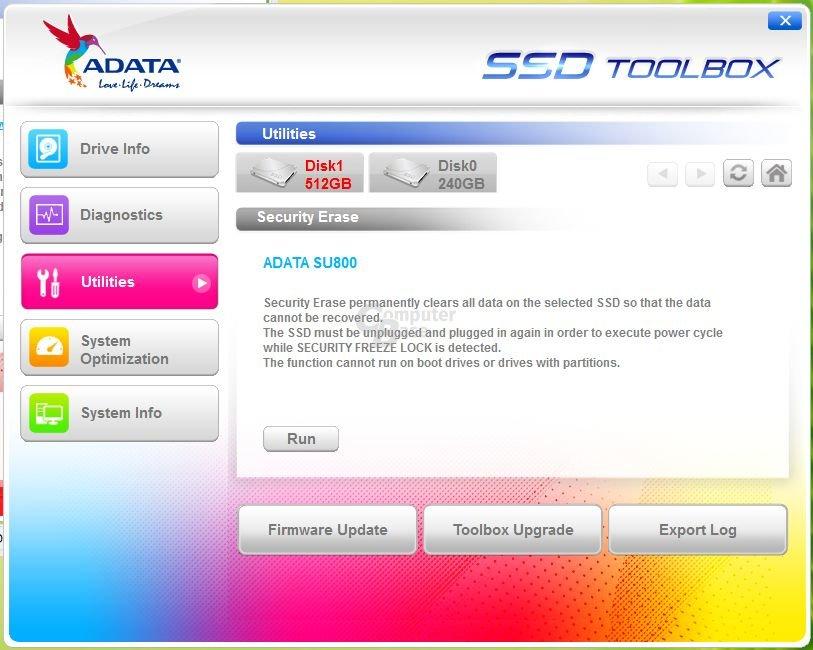 Adata SSD Toolbox 2.4.1 mit SU800