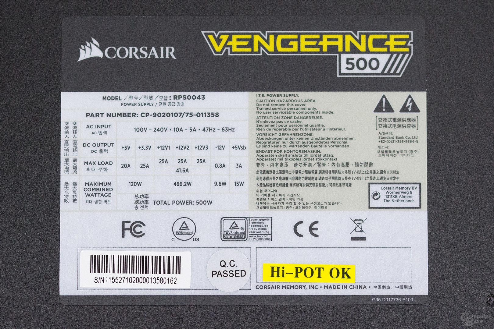 Corsair Vengeance 500