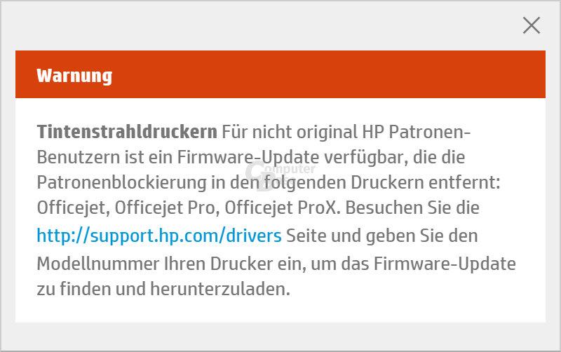 Hinweis für neue Firmware auf HP-Website