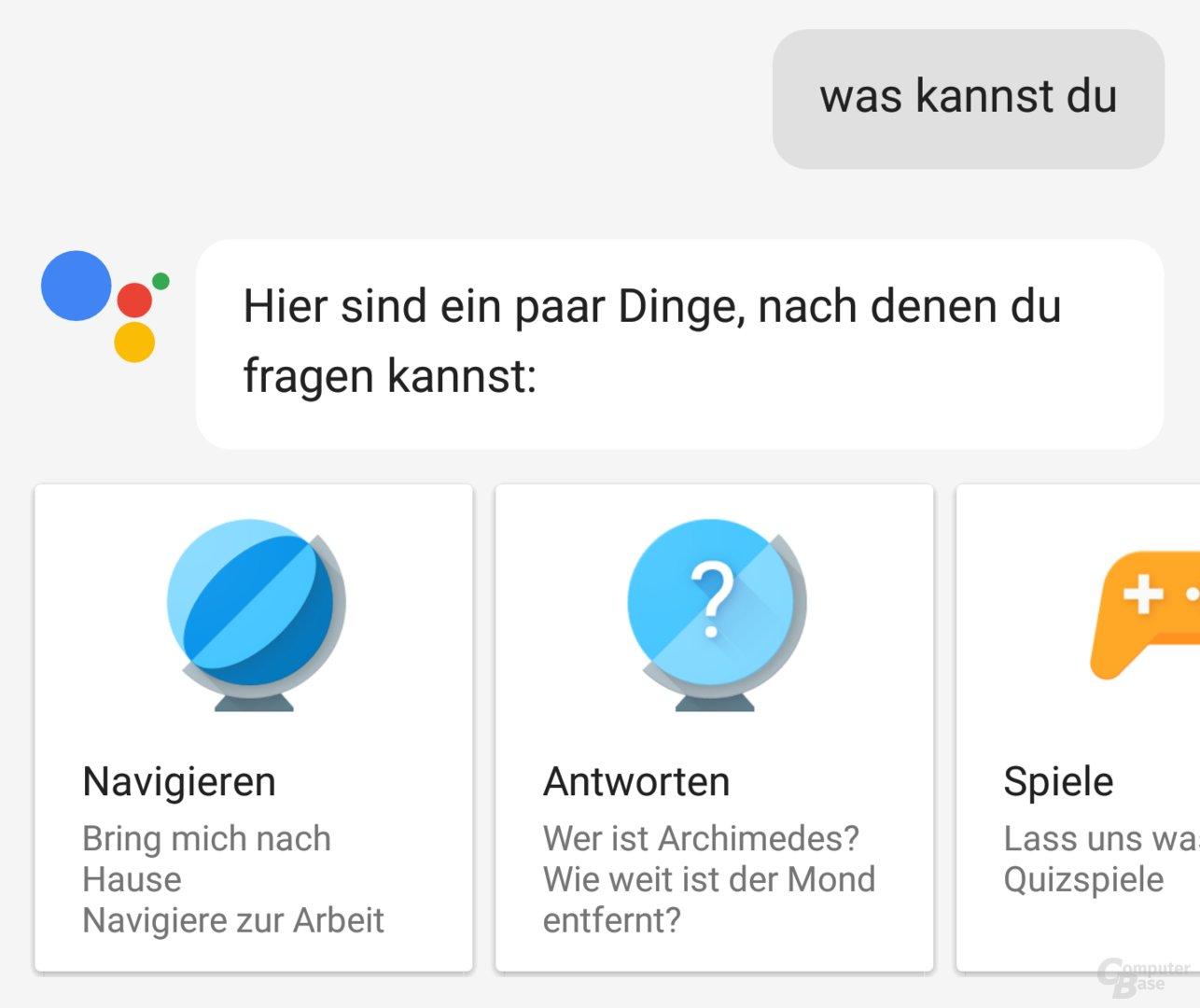 Am besten fragt man den Google Assistant einfach, was er alles kann