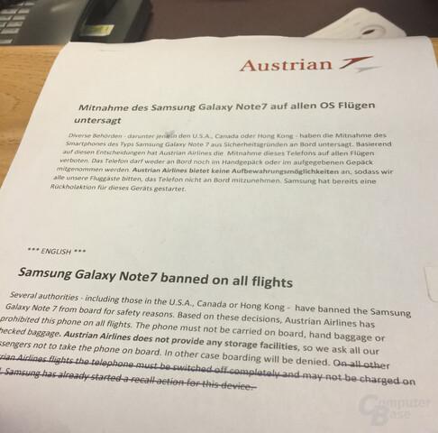 Hinweis von Austrian Airlines auf das Verbot am Wiener Flughafen