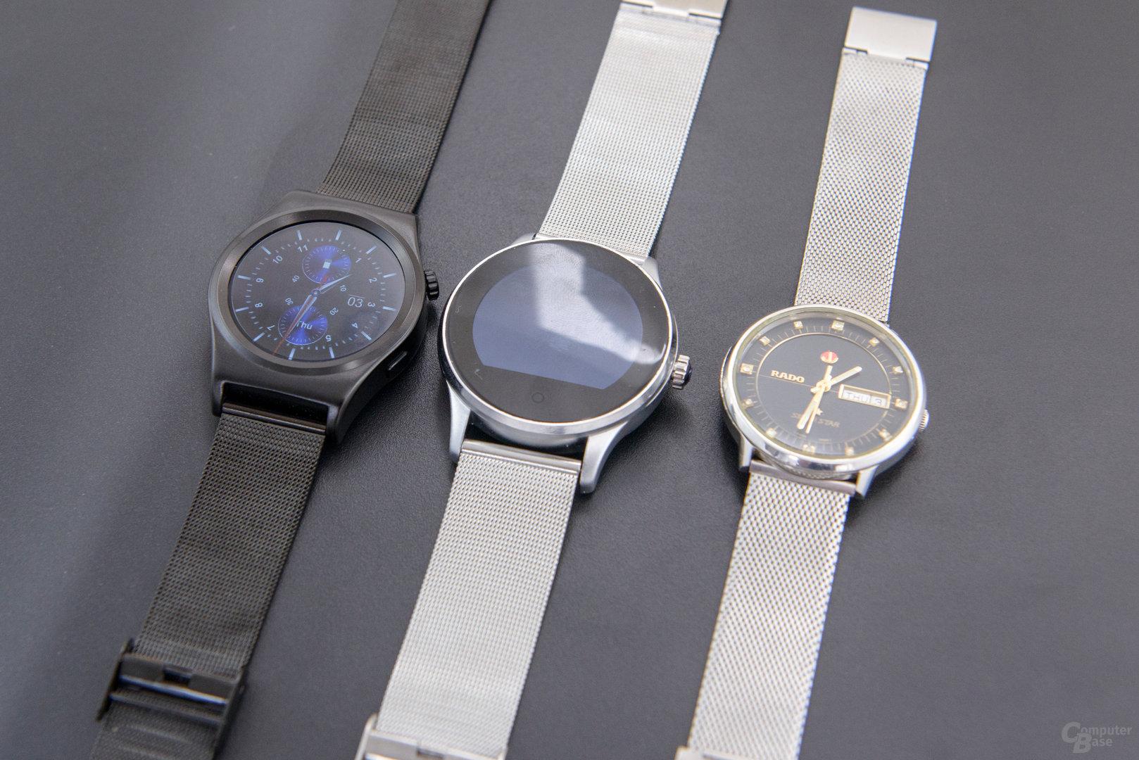 X10 Smartwatch Größenvergleich zur K88H (42mm) und Rado Silverstar (36mm)