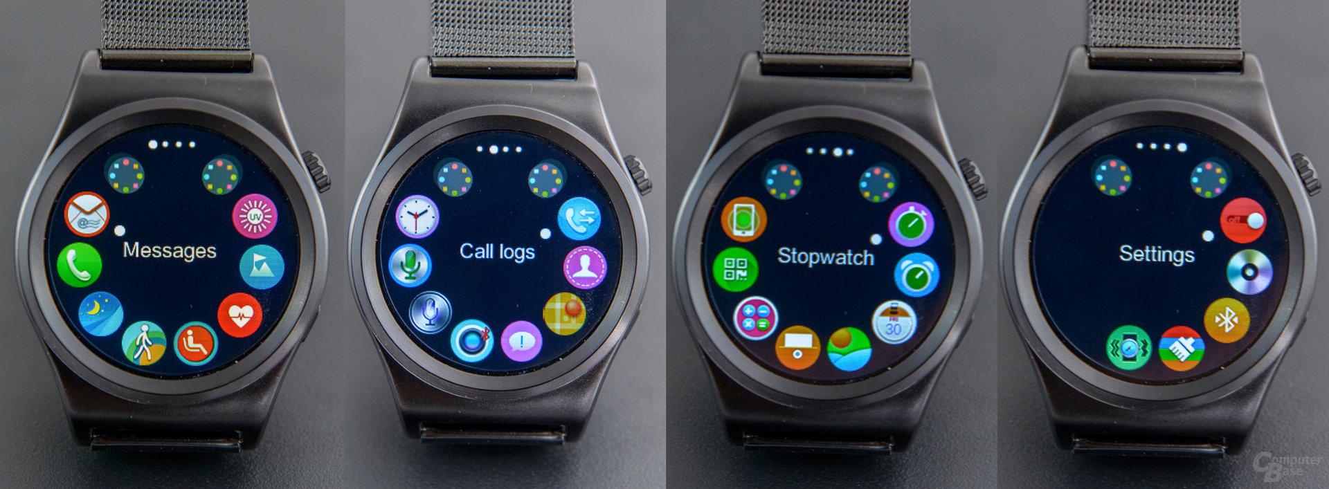 X10 Smartwatch Benutzeroberfläche