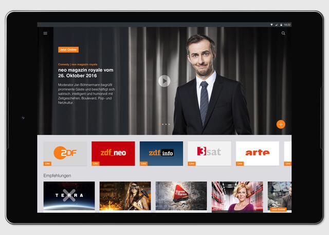 App der ZDFmediathek auf Tablet mit Android-Betriebssystem