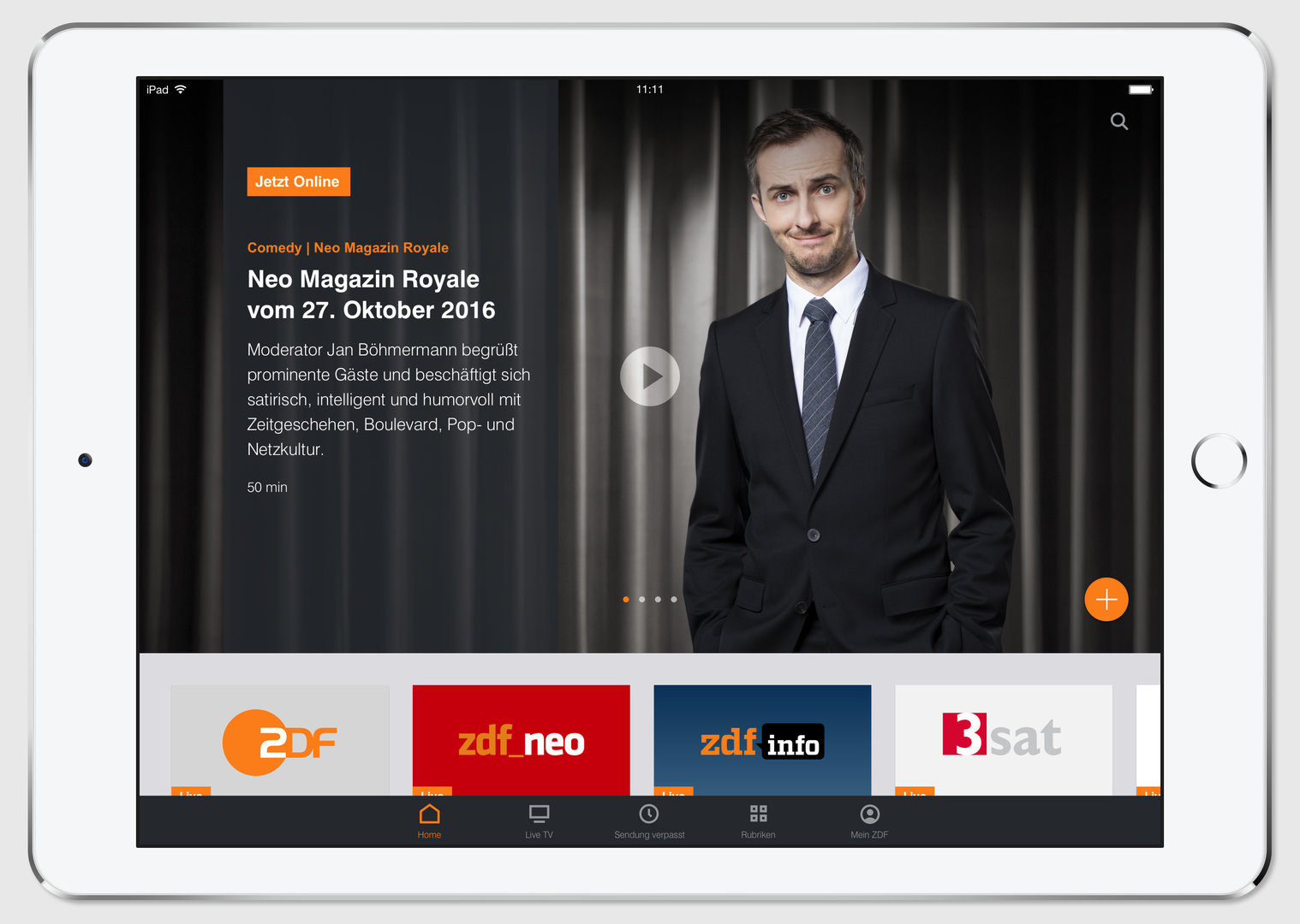 App der ZDFmediathek auf Tablet mit iOS-Betriebssystem