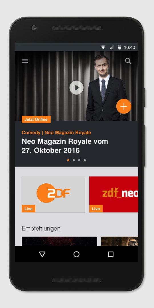 App der ZDFmediathek auf Smartphone mit Android-Betriebssystem