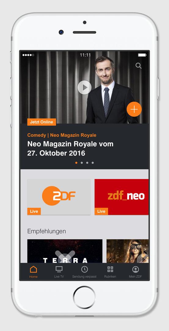 App der ZDFmediathek auf Smartphone mit iOS-Betriebssystem