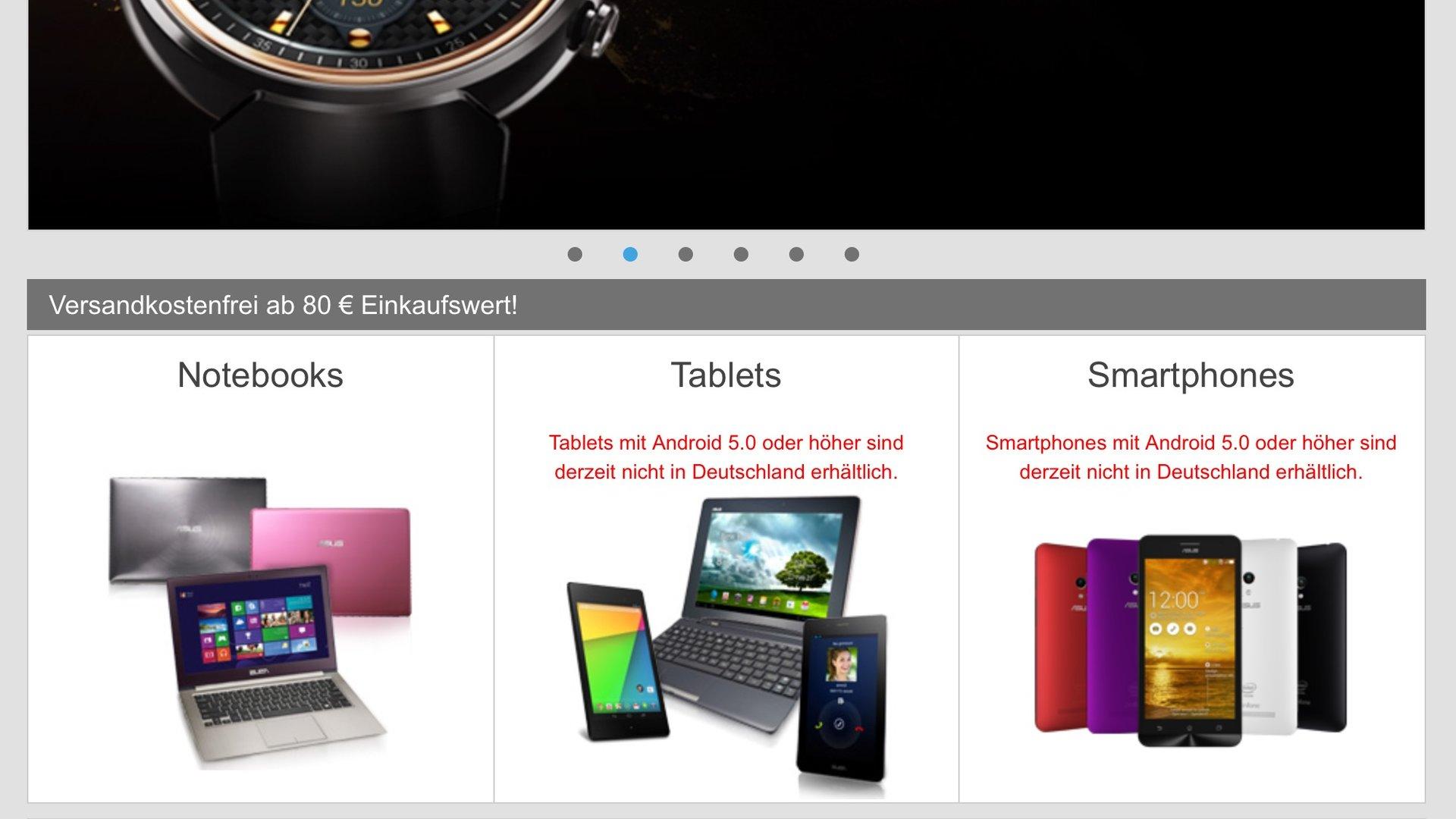 Im Asus-Shop sind Smartphones und Tablets aktuell nicht erhältlich