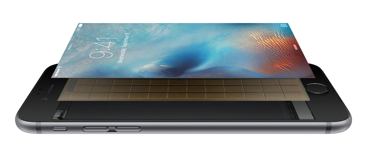 Sensoren unter dem Display erfassen beim iPhone 6s die Druckintensität