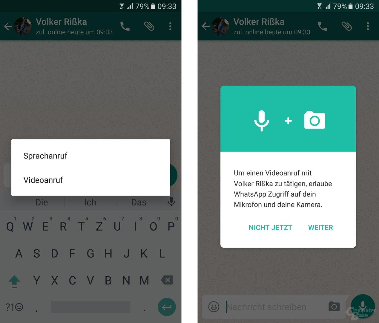 Videoanrufe mit WhatsApp