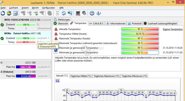 Bis zu 98 °C meldete Hard Disk Sentinel