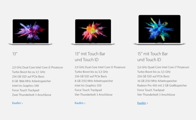 Das neue MacBook Pro in drei Varianten