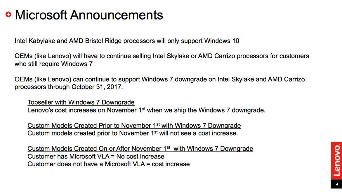 Lenovo darf auch noch 2017 Windows 7 verkaufen