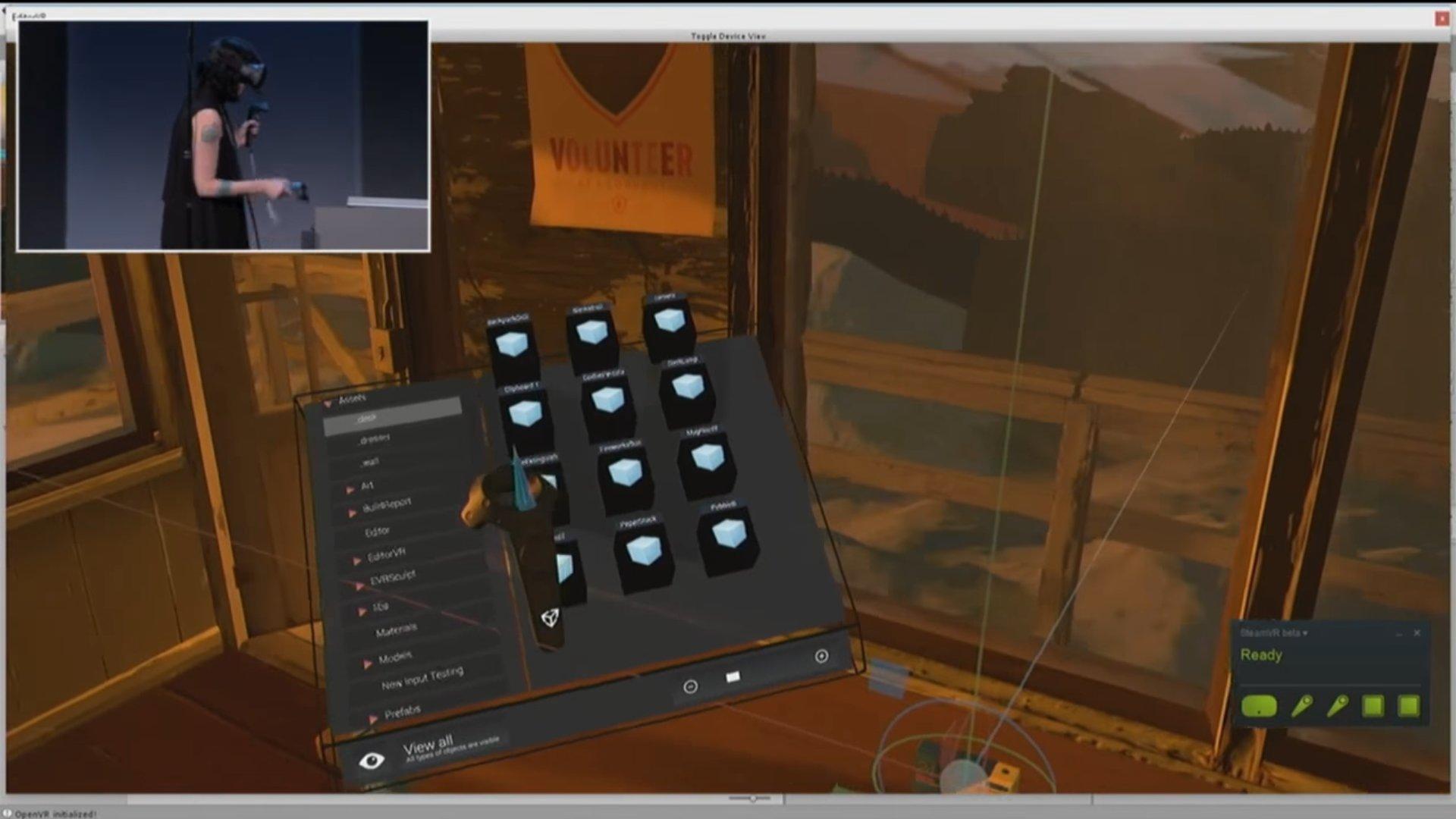 """...und stellen beispielsweise die """"Project View""""-Ansicht der Unity Oberfläche in VR dar"""