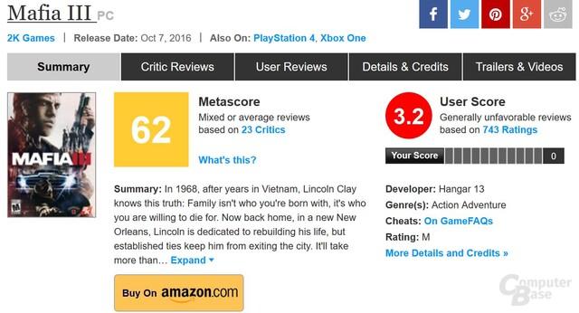 Die Metacritic-Wertungen sind niedrig