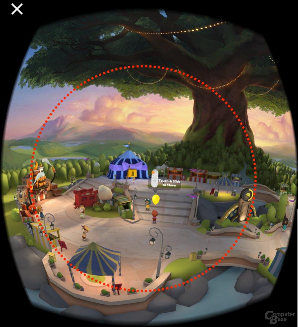 Das Sichtfeld entspricht annähernd dem gestrichelten Kreis