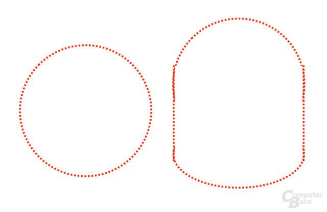 Schematische Darstellung der Sichtfelder von Daydream View und Gear VR (vereinfacht)
