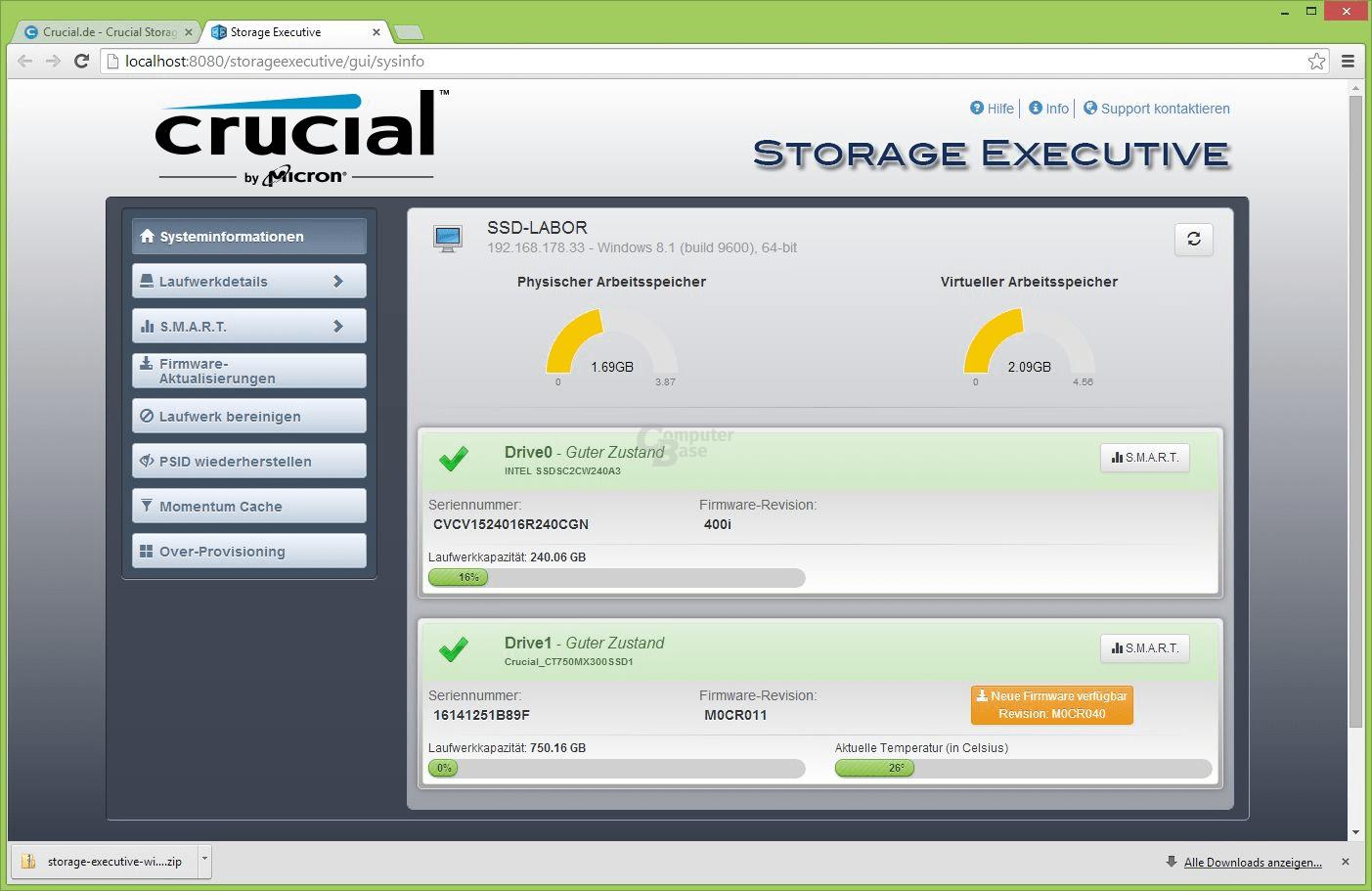 Crucial MX300 vor dem Firmware-Update