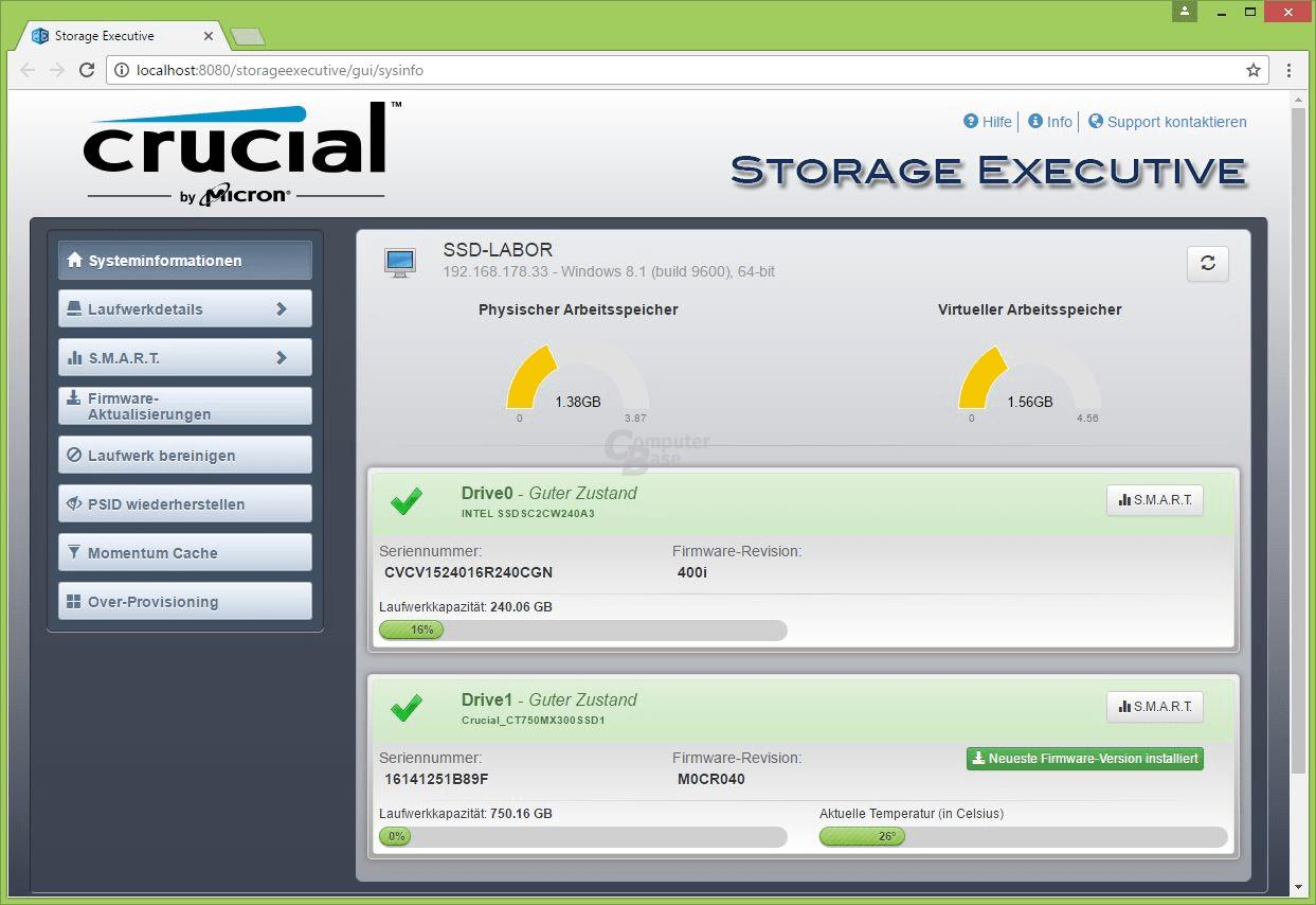 Crucial MX300 nach dem Firmware-Update
