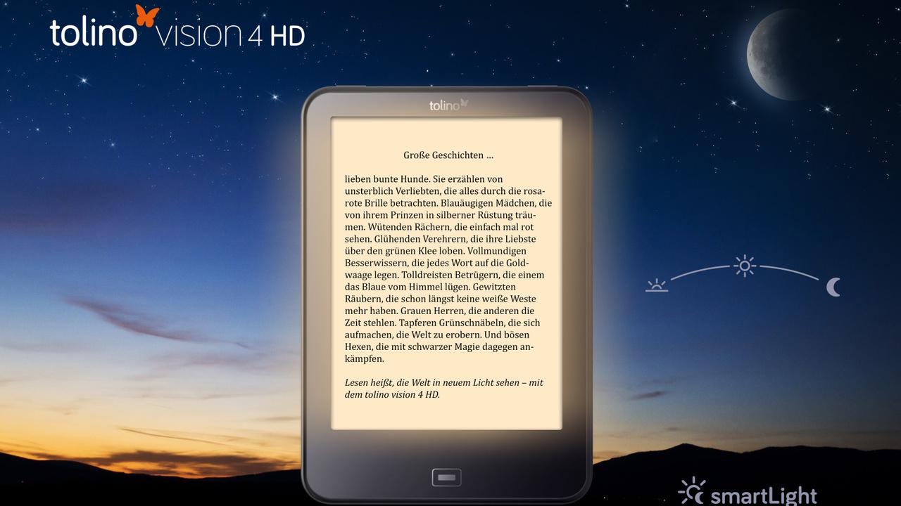 Tolino Vision 4 HD: Neuer E-Book-Reader mit Blaulichtfilter und 8 GB Speicher